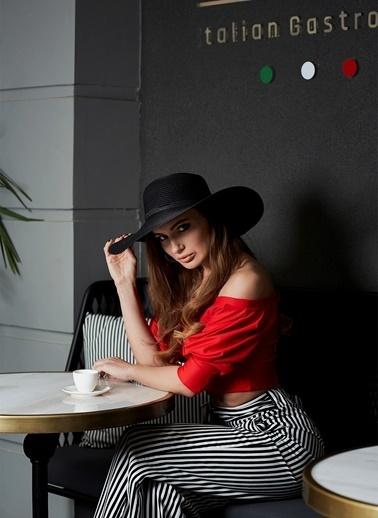 Laslusa İçten Ayarlanabilir Hasır Geniş Kenar Şapka Siyah